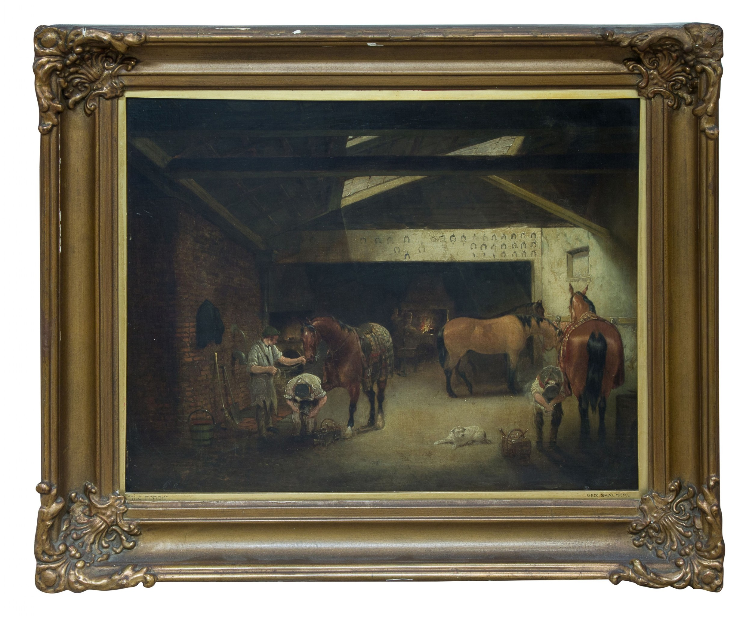 an oil on canvas showing farriers at work signed george shalders