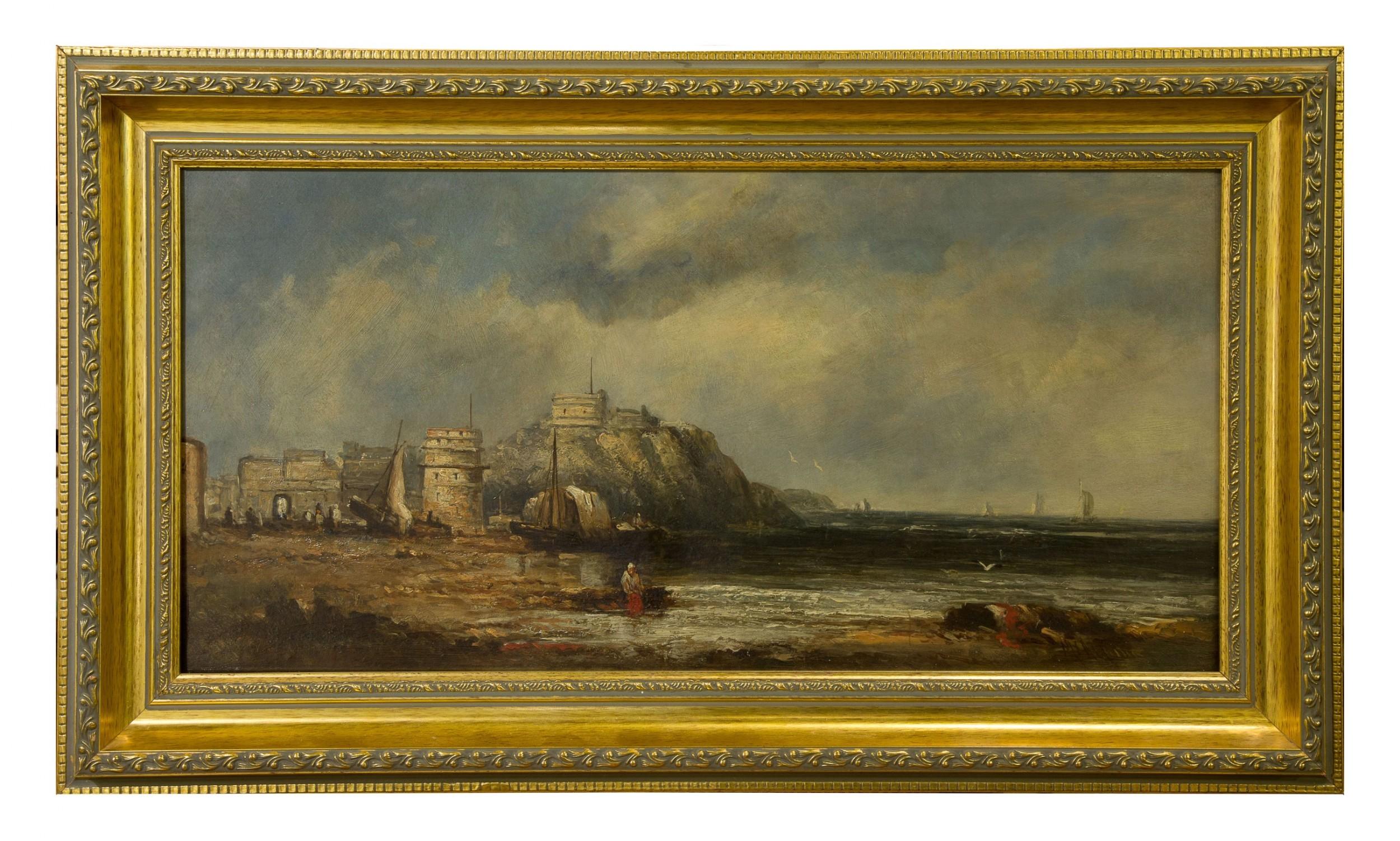 an oil on canvas of a coastal scene