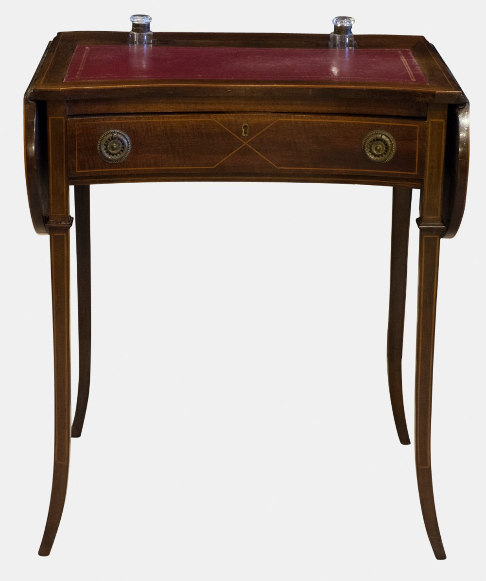 ladies writing desks A ladies antique walnut writing desk the desk has a hinged fold up top, three drawer compartments (only one drawer is present), and a slide out writing surface with.
