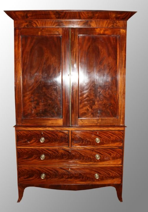 mahogany regency period linen press