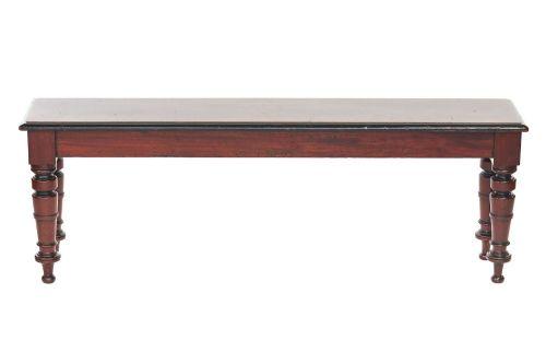 c19th mahogany hall bench window seat with ebonised detail