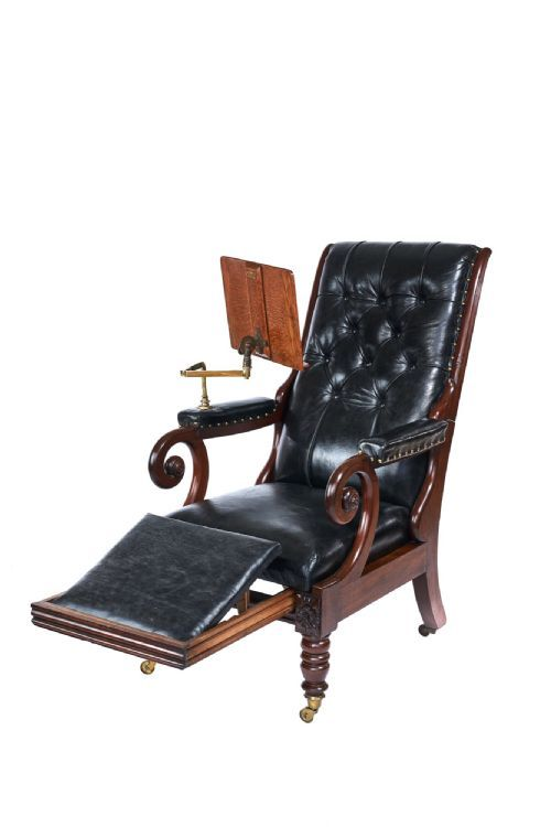 w1v mahogany leather reclining library chair with lectern