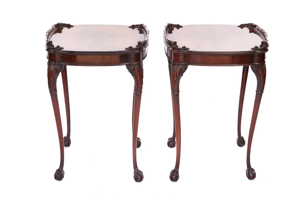 pair antique mahogany carved lamp tables c1920s