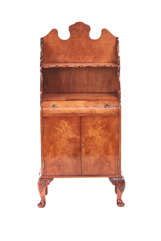 queen anne style small walnut side cupboard 1920s