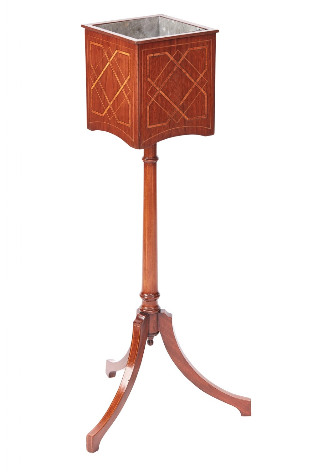 edwardian inlaid mahogany pedestal plant stand