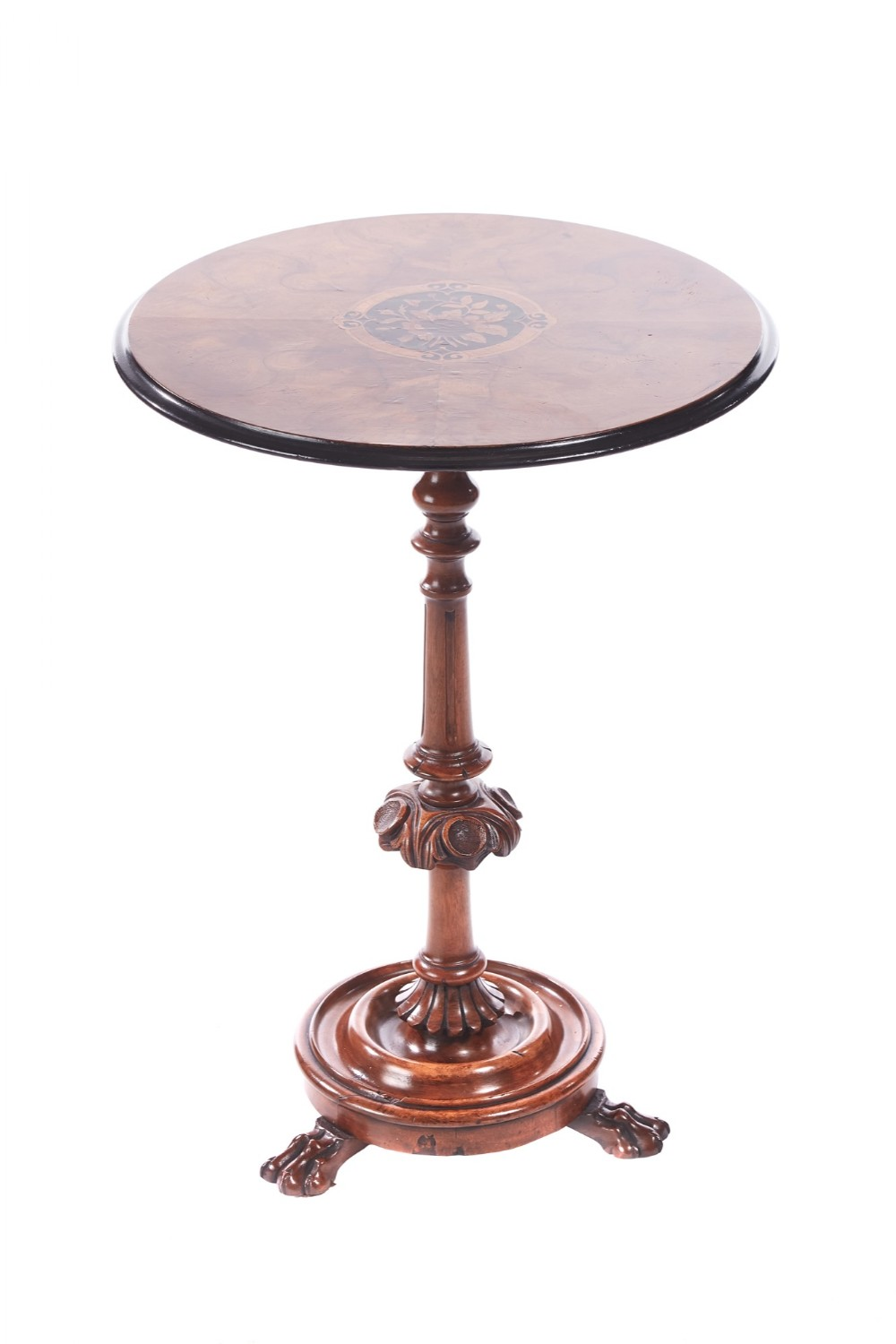 victorian walnut carved inlaid circular lamp table
