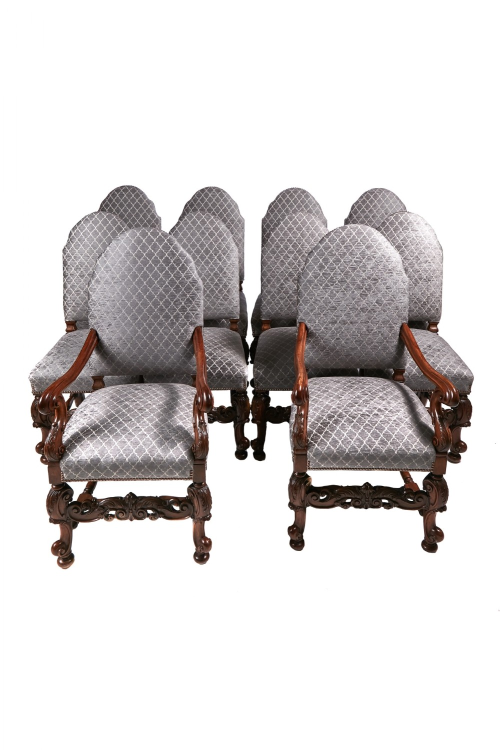 fine set 10 carved walnut dining chairs 8 pair elbows circa 1920s