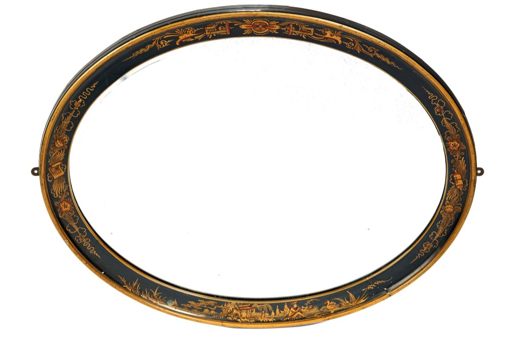 chinoiserie decorated oval bevelled wall mirror circa 1920s