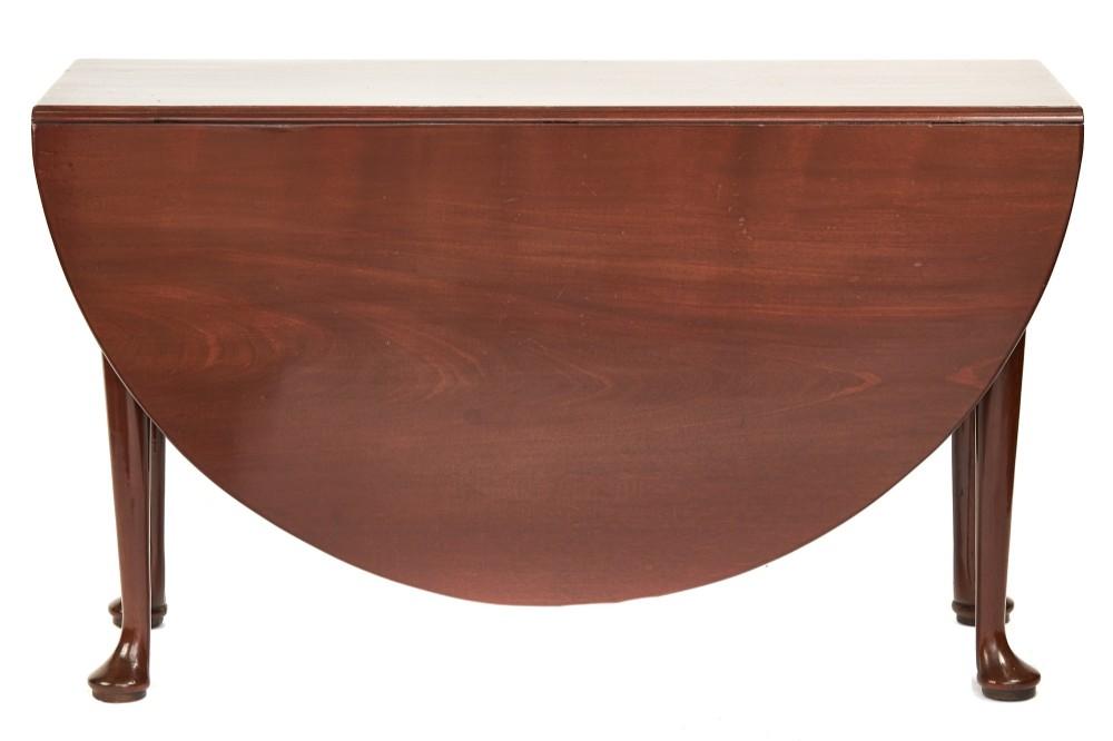 georgian mahogany oval pad foot drop leaf table