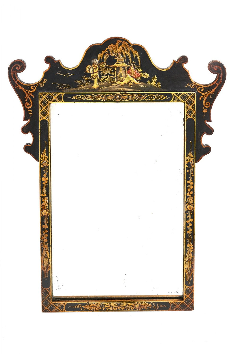 chinoiserie decorated small wall mirror circa 1920s