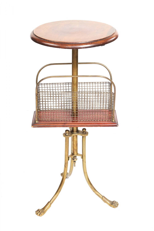 victorian brass mahogany revolving magazine stand hall son patent