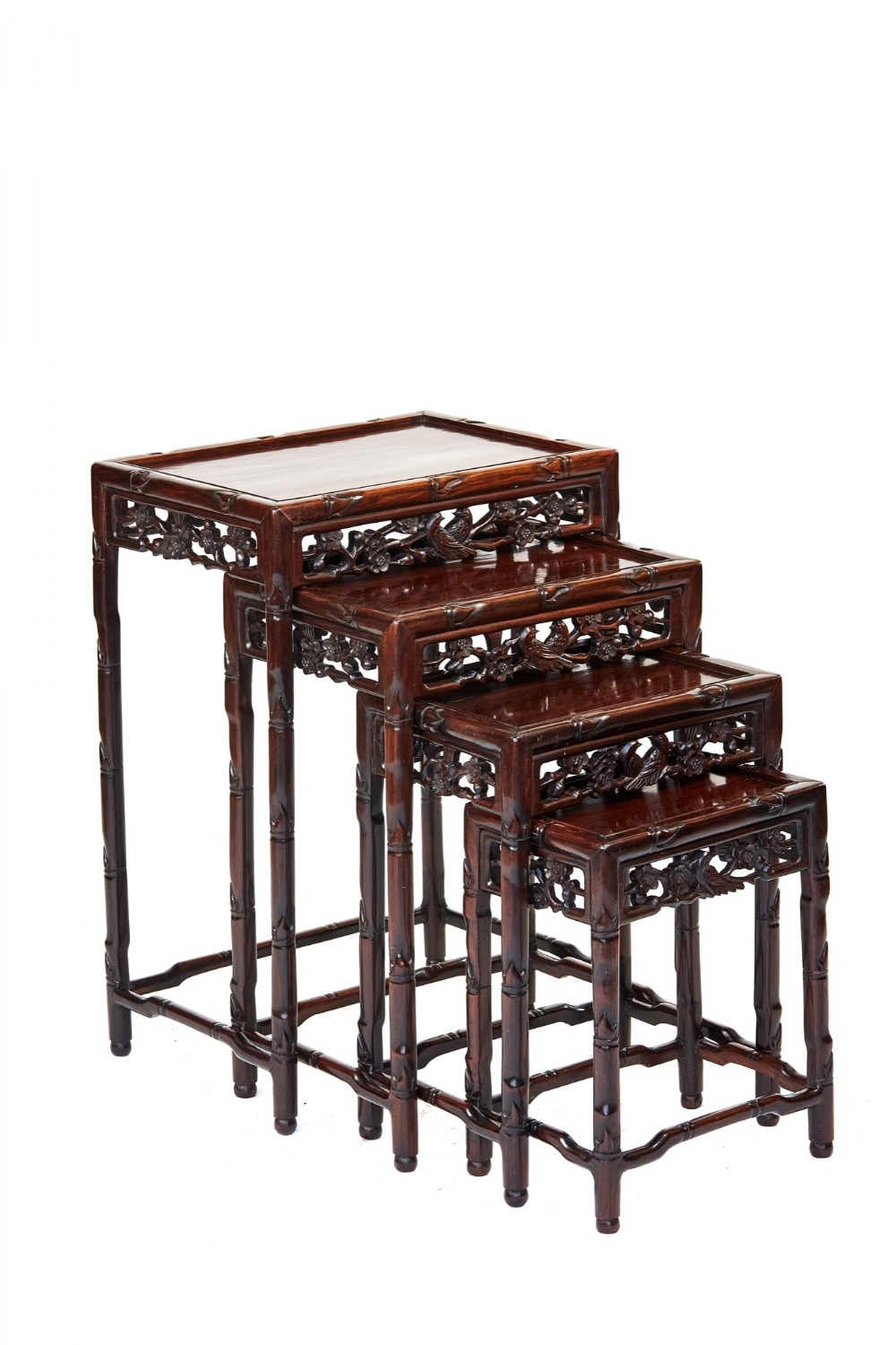 chinese hardwood carved quartetto nest tables circa 1900