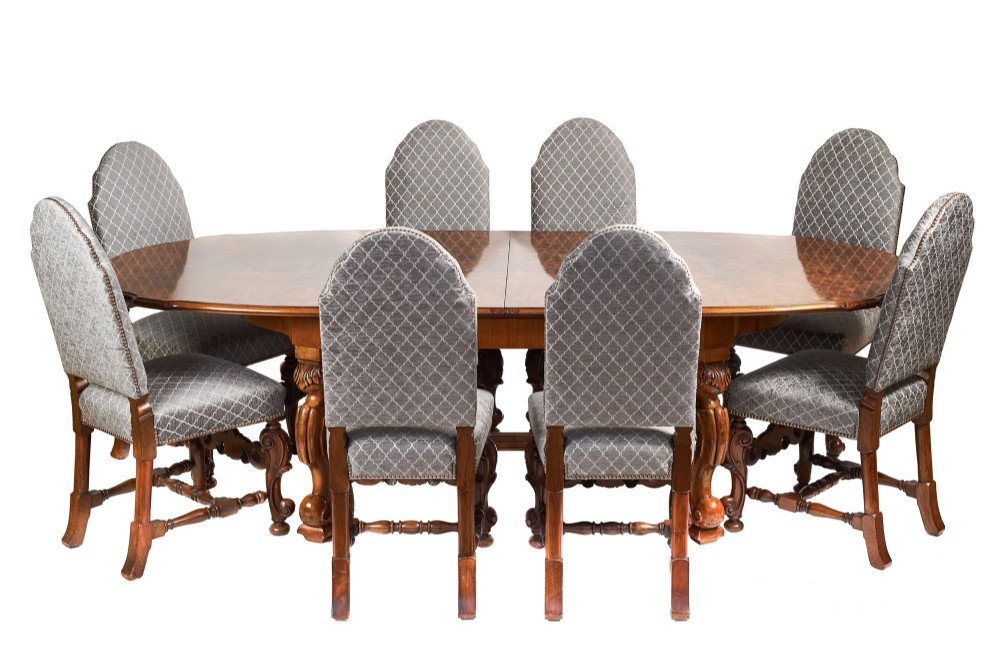 antique walnut carved dining table set 8 carved dining chairs