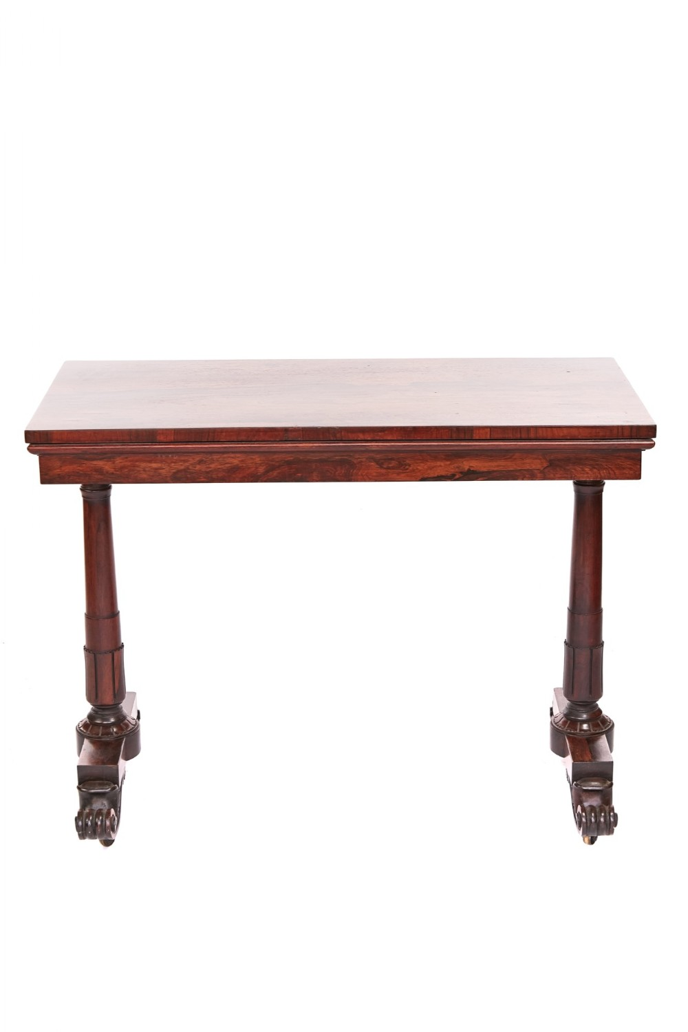 fine regency rosewood card table with unusual action