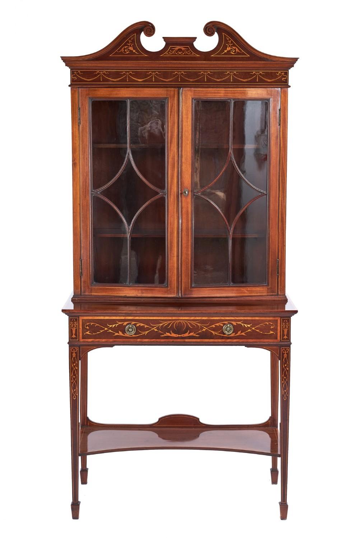 edwardian inlaid mahogany display cabinet by edwards roberts