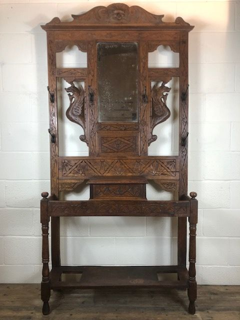antique carved oak gothic style hat and coat hall stand