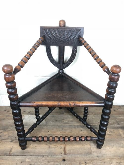 antique victorian oak turners chair or corner chair