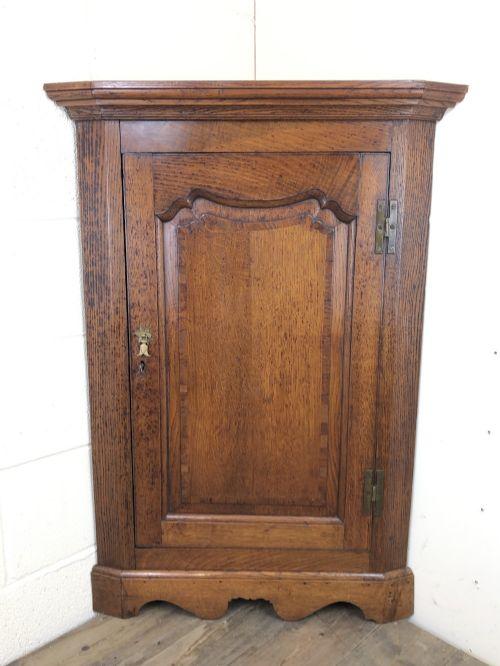19th century antique oak corner cupboard