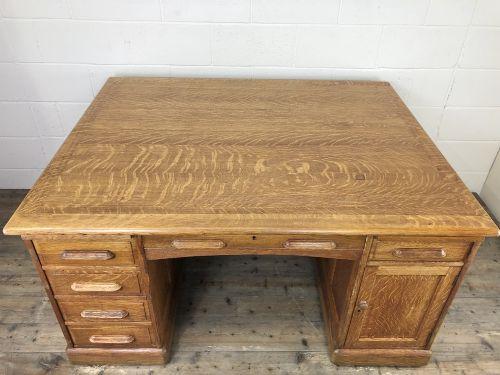 large edwardian oak twin pedestal partners desk
