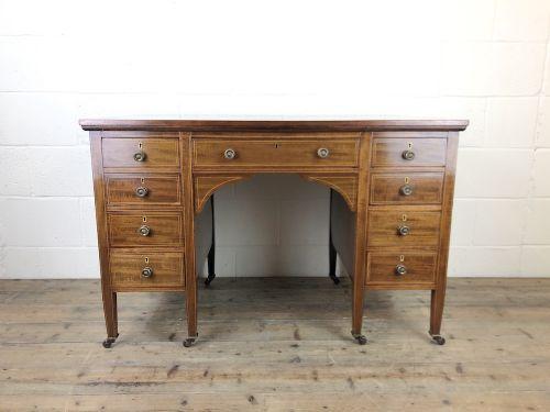 antique edwardian inlaid mahogany desk