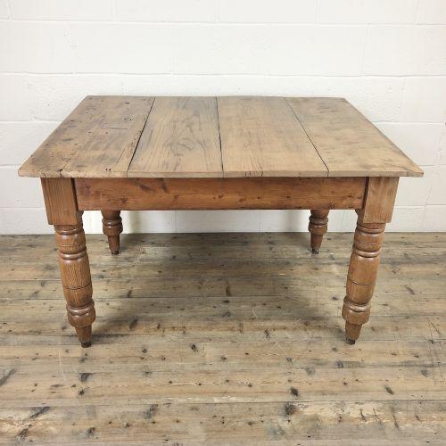 antique pine farmhouse kitchen table with oak top