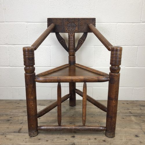 victorian carved oak corner chair or turner chair