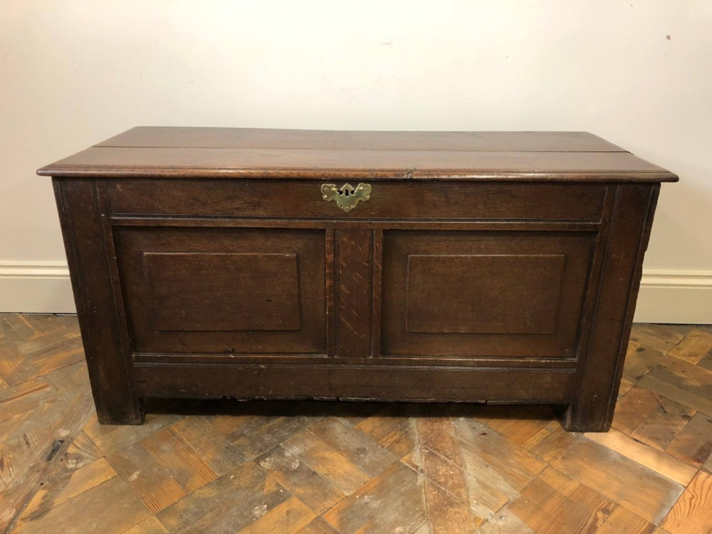 18th century welsh oak coffer with panel front