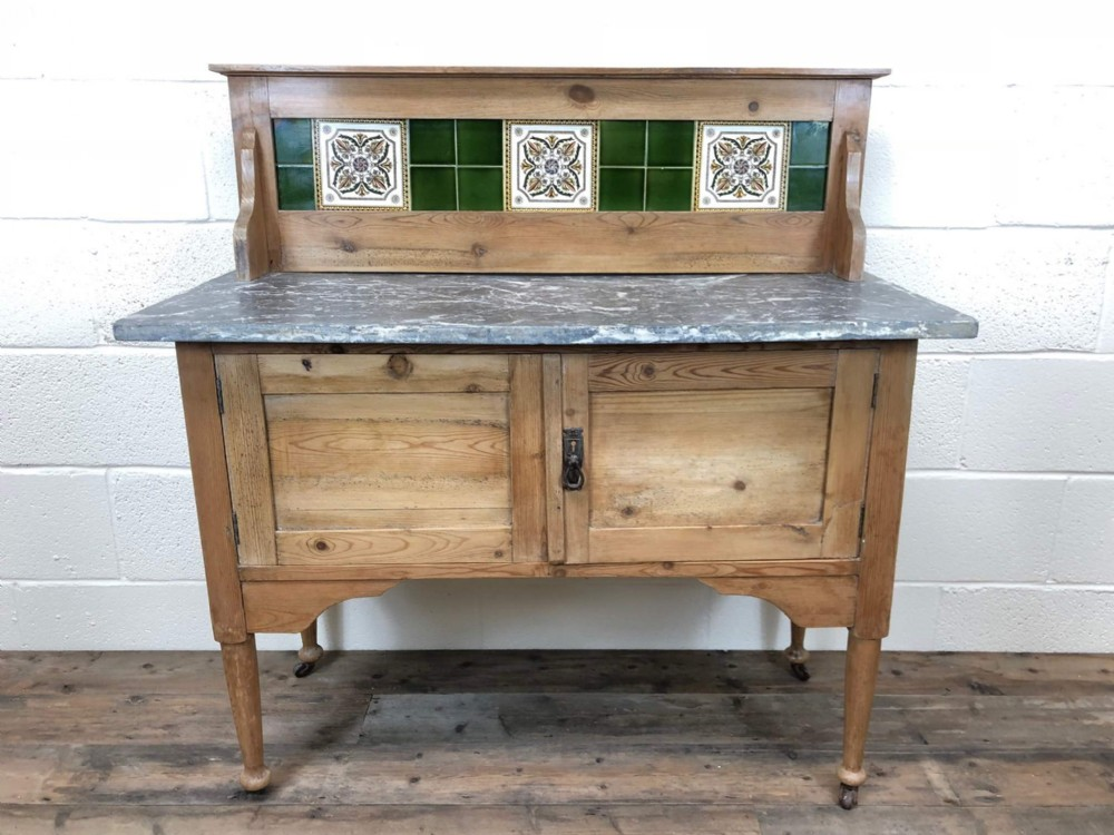 late 19th century stripped pine washstand cupboard with marble top