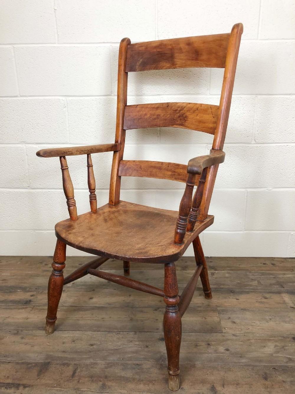 late 19th century double bar back armchair