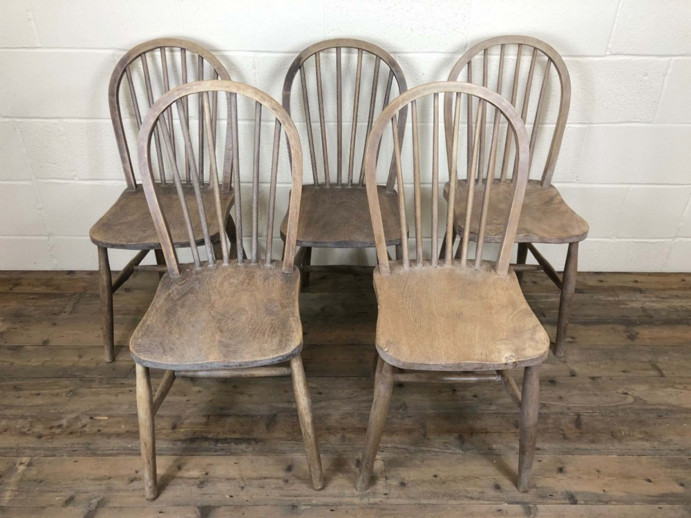 set of five 19th century ash and elm hoop back farmhouse chairs