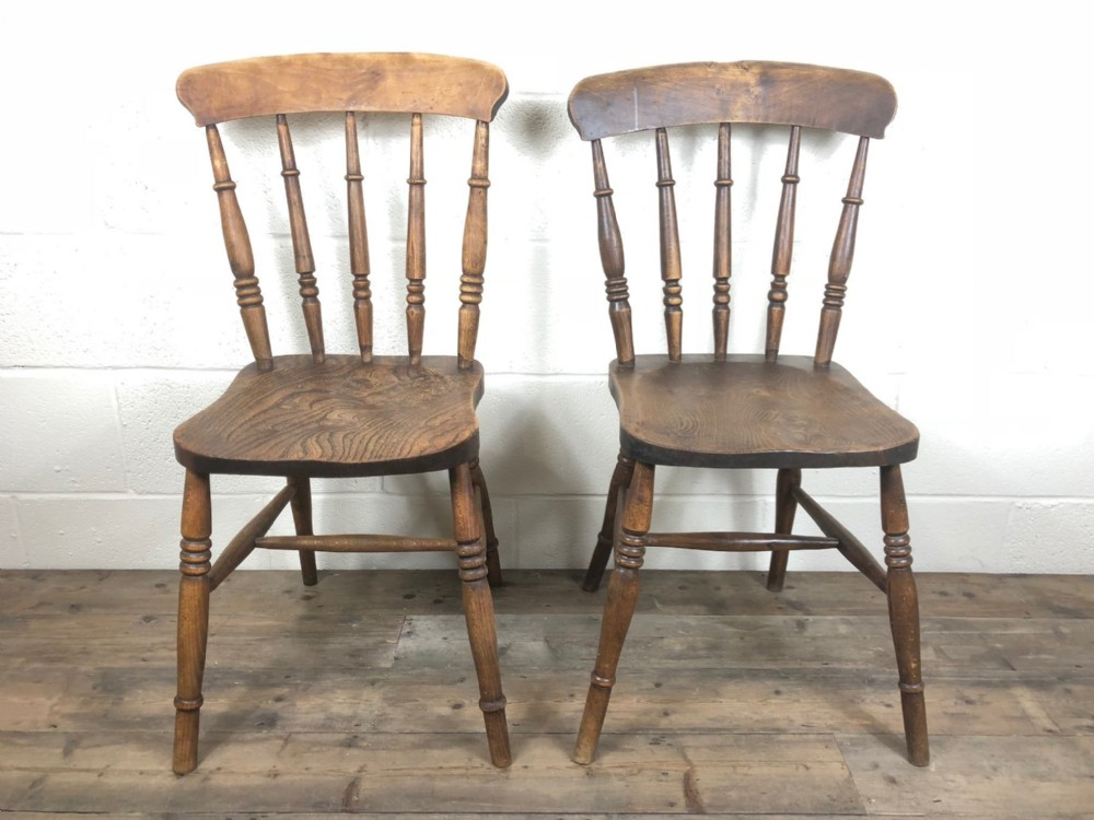 pair of antique ash and elm spindle back farmhouse chairs