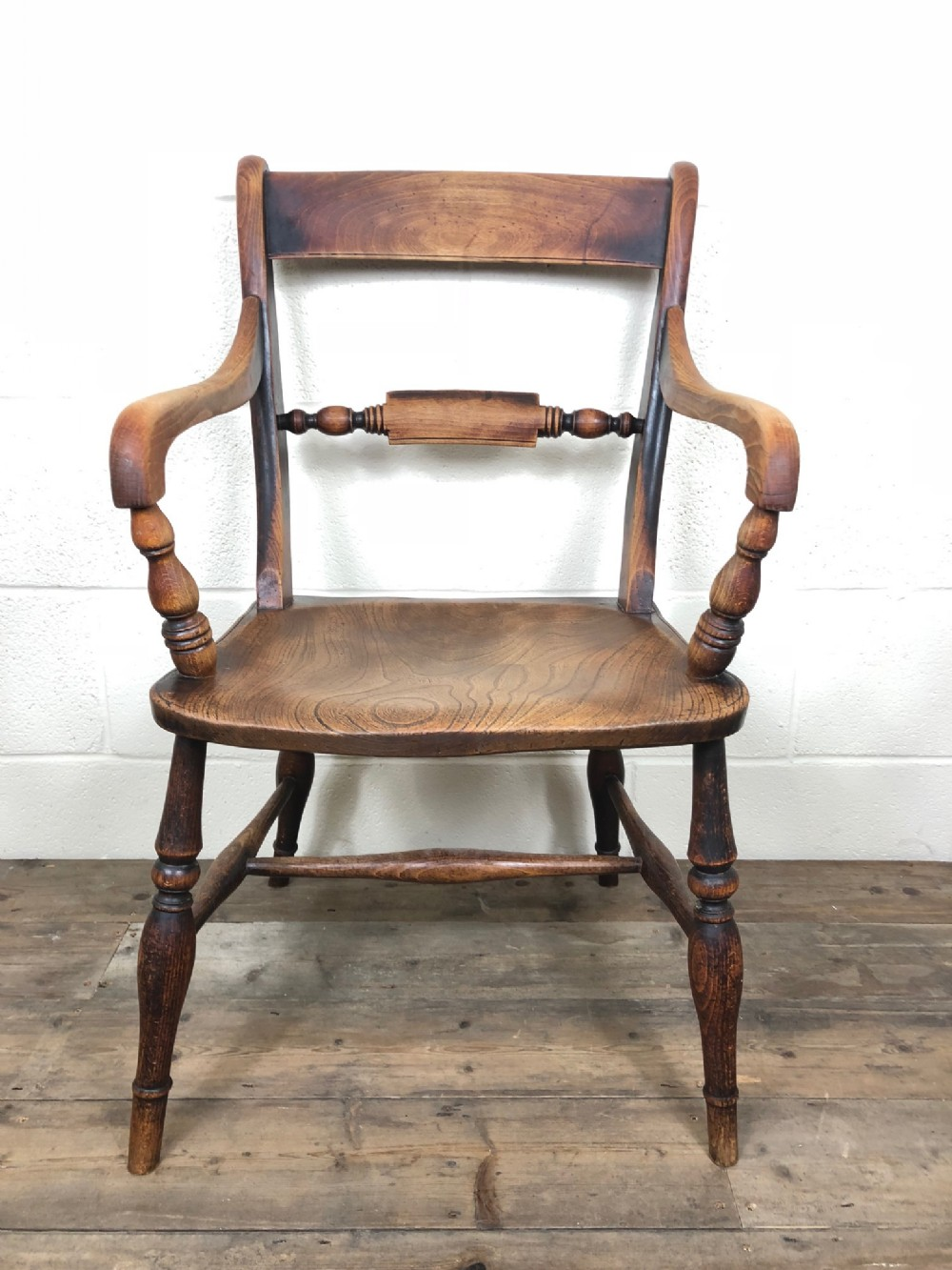 georgian ash and elm bar back armchair