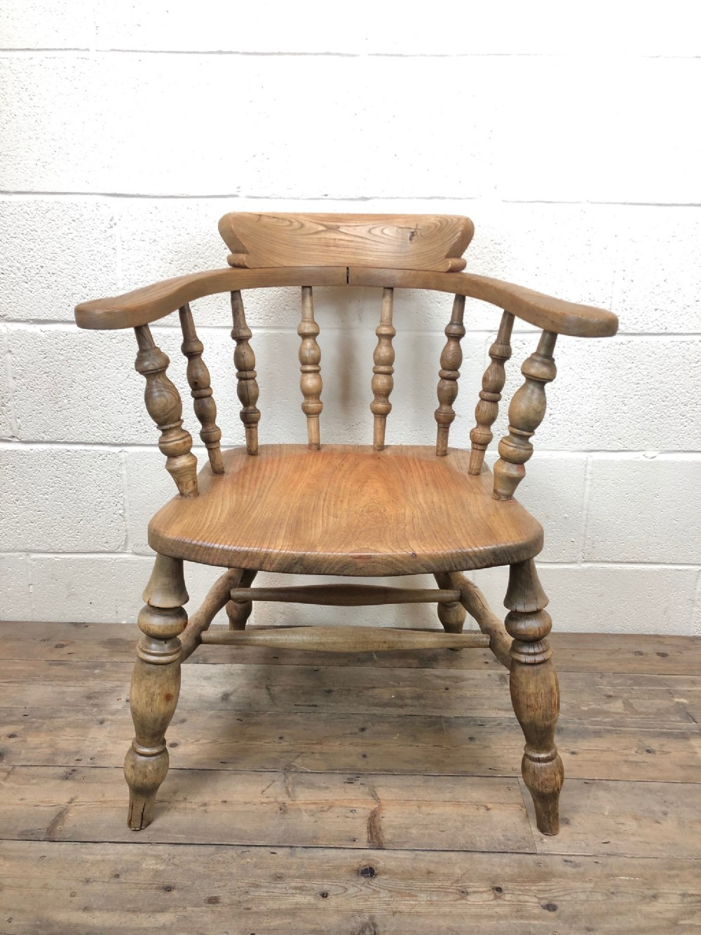antique beech and elm smokers bow chair or captains armchair