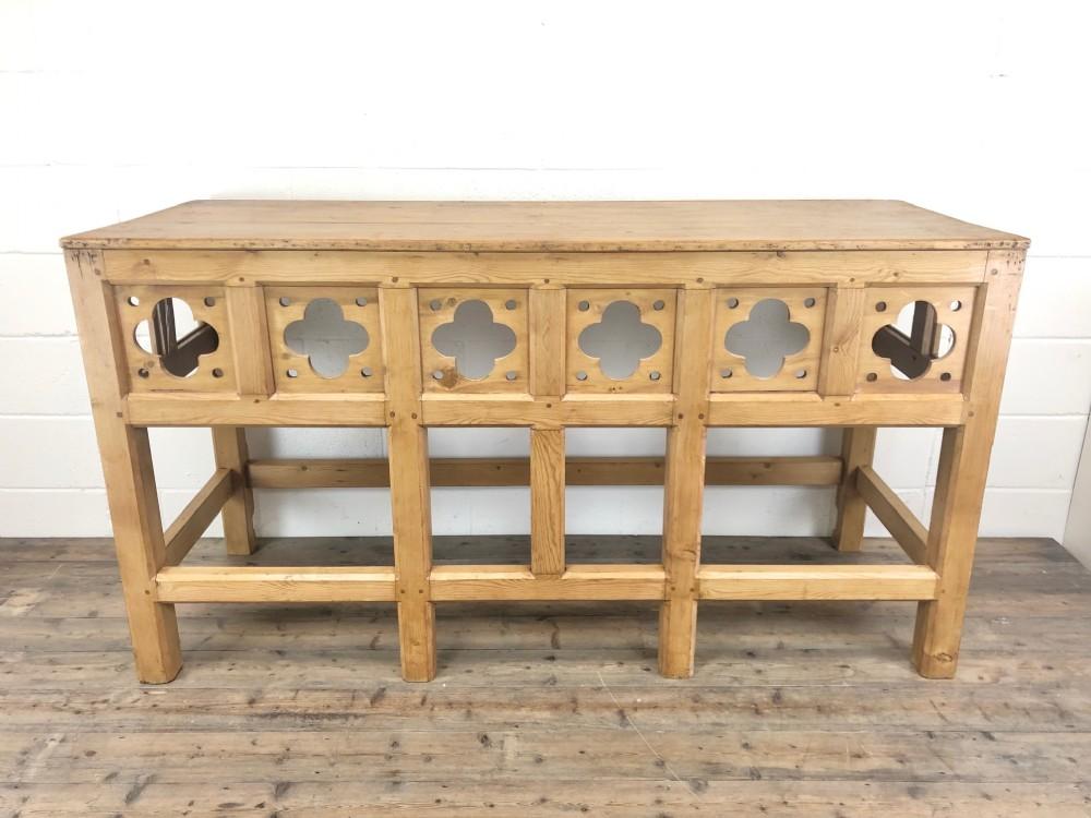 victorian pine church altar table in gothic design