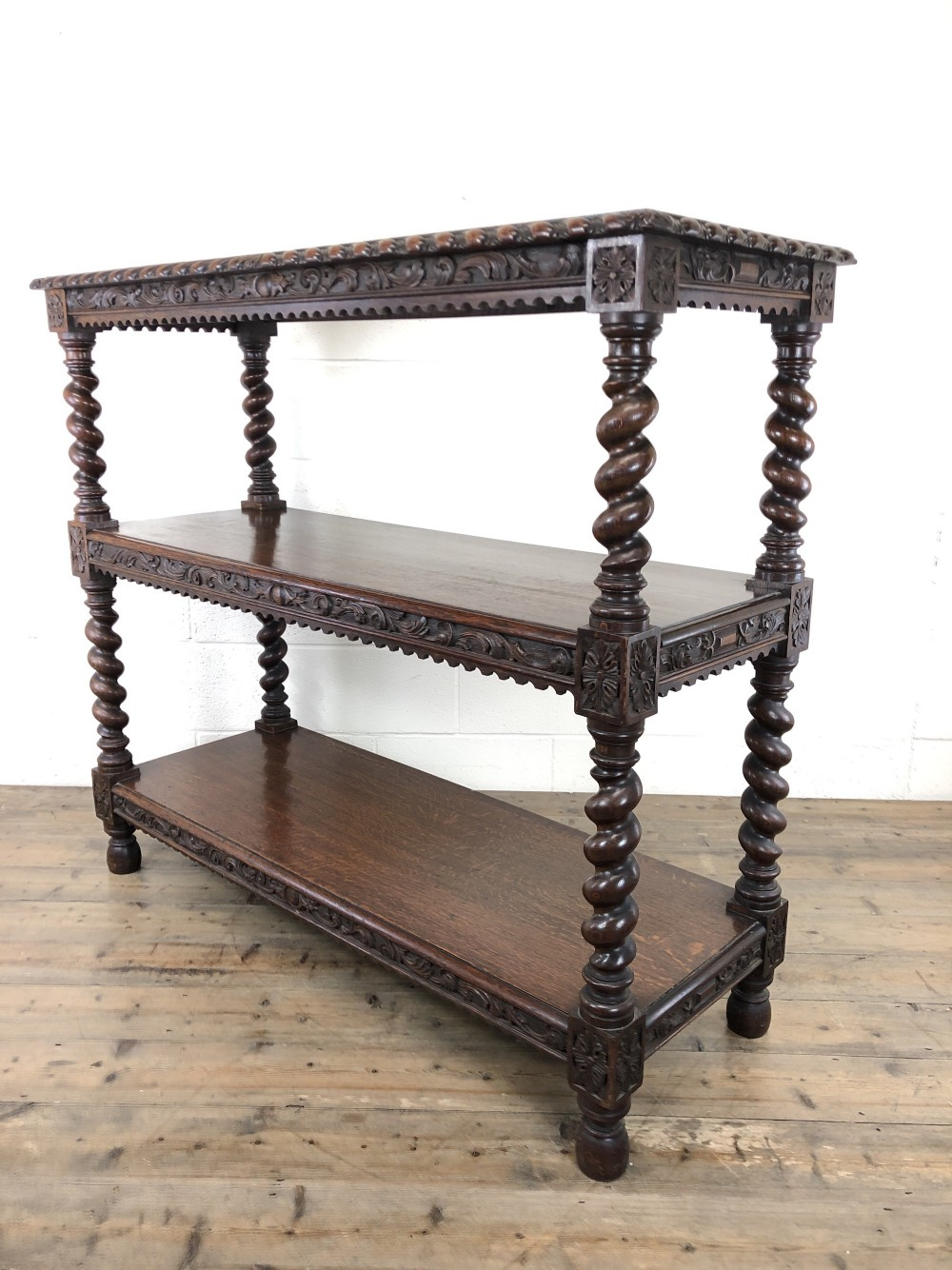 antique victorian carved oak three tier display shelves