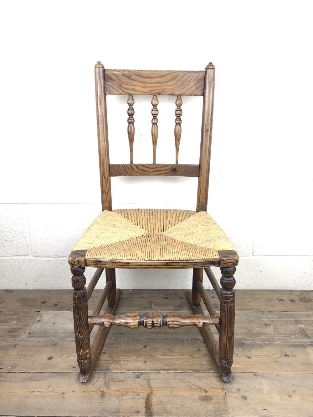 antique ash and elm rocking chair with rush seat