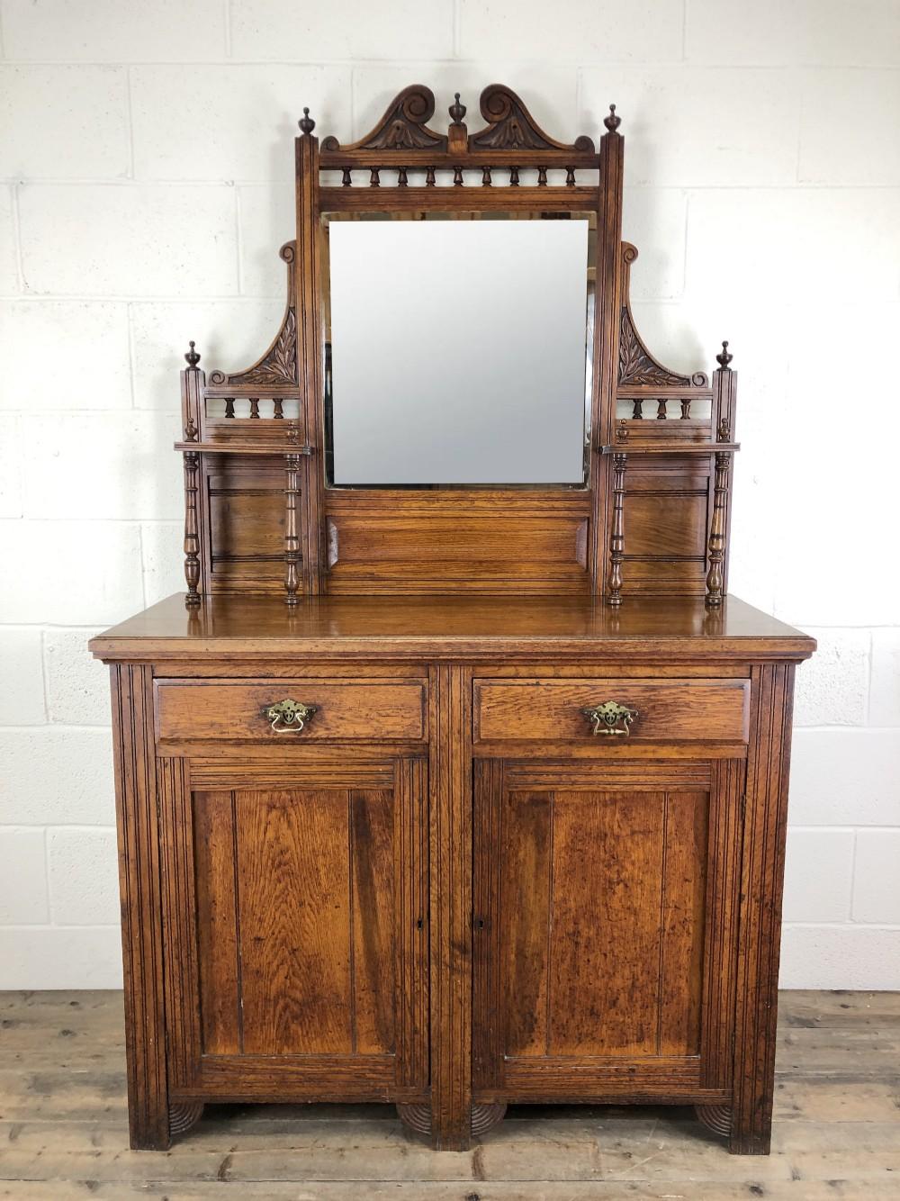 edwardian antique oak mirror back sideboard