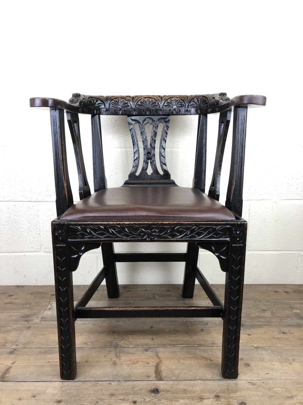 victorian carved oak gothic armchair