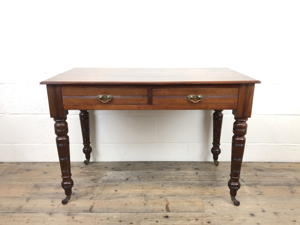 edwardian mahogany two drawer side table