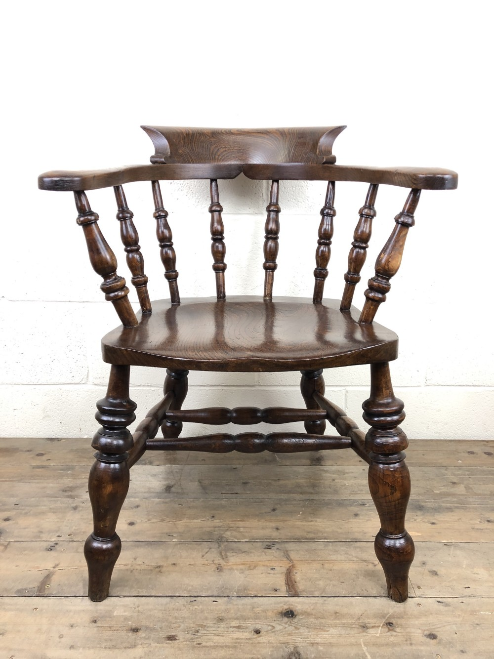19th century ash and elm smokers bow chair or captains armchair