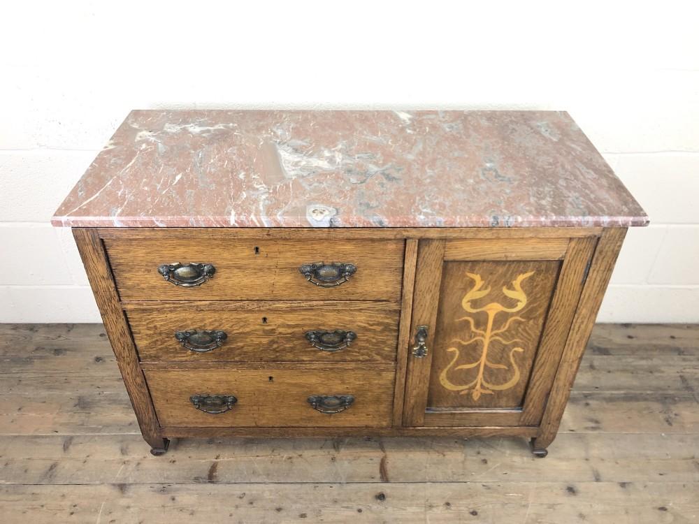 antique oak arts crafts marble top cupboard