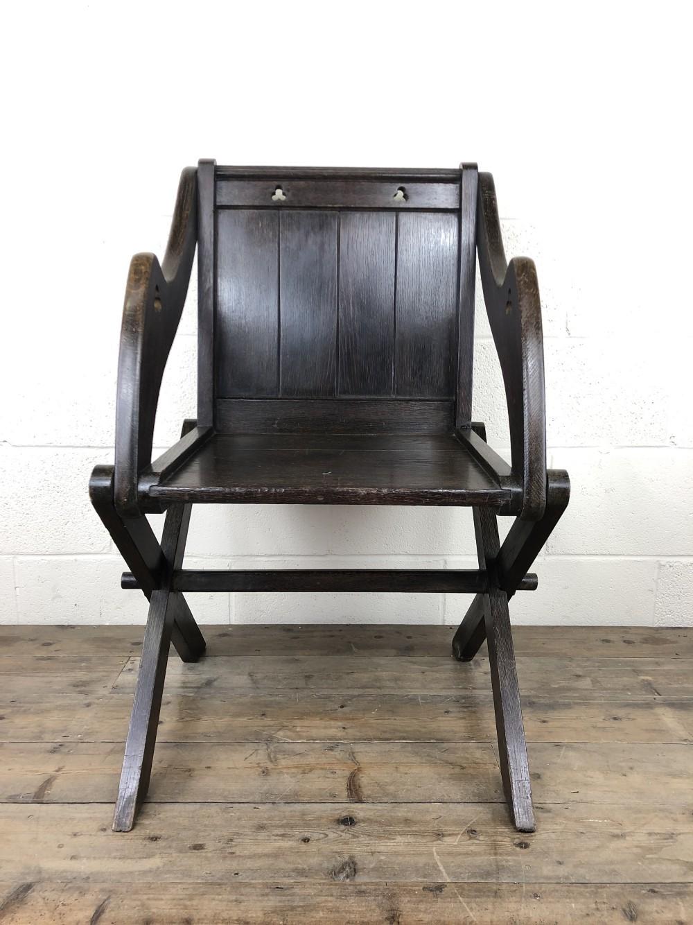 unusual antique oak gothic armchair
