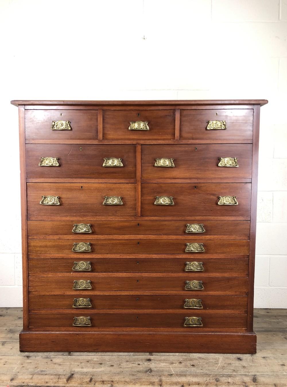 large edwardian mahogany bank of drawers