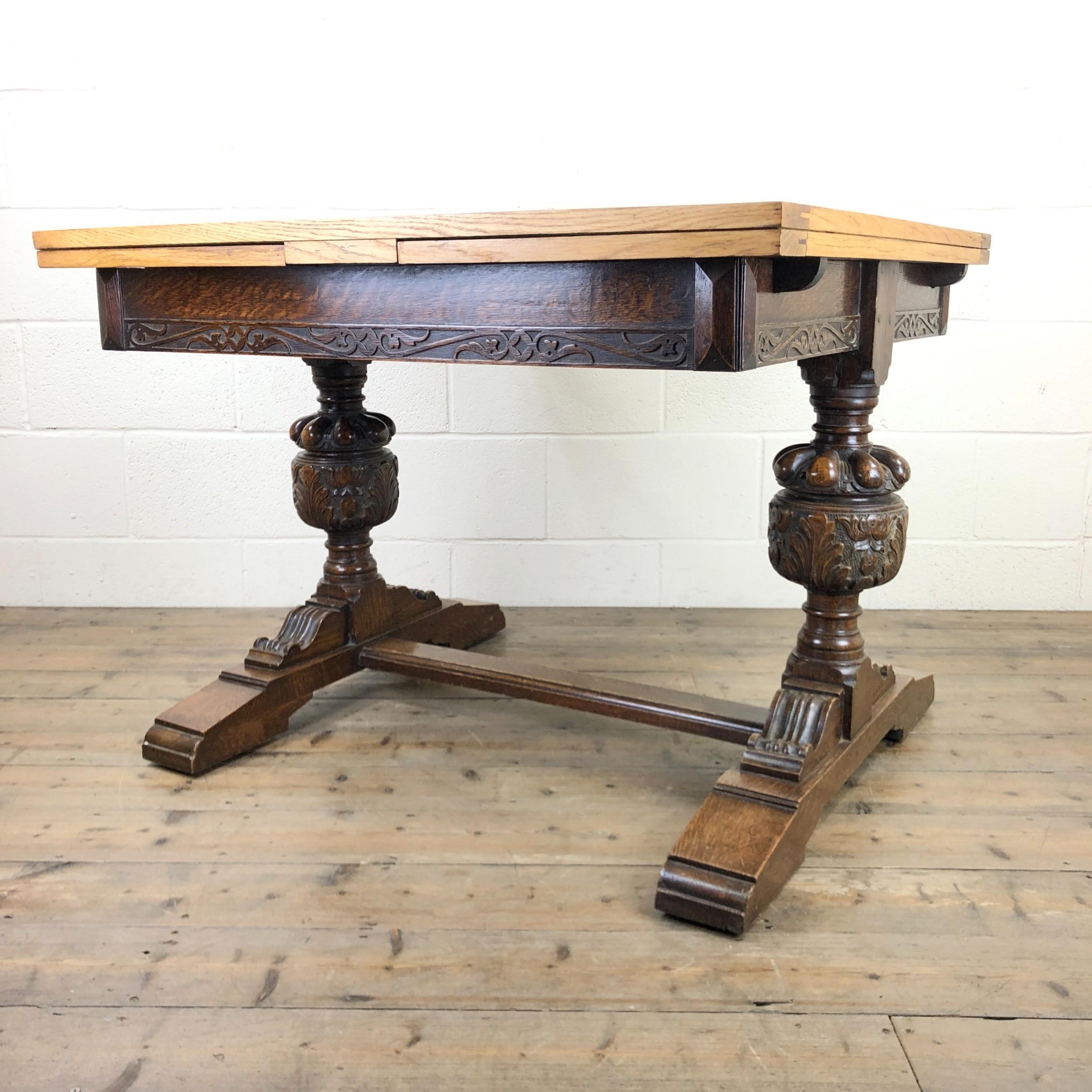 oak draw leaf dining table