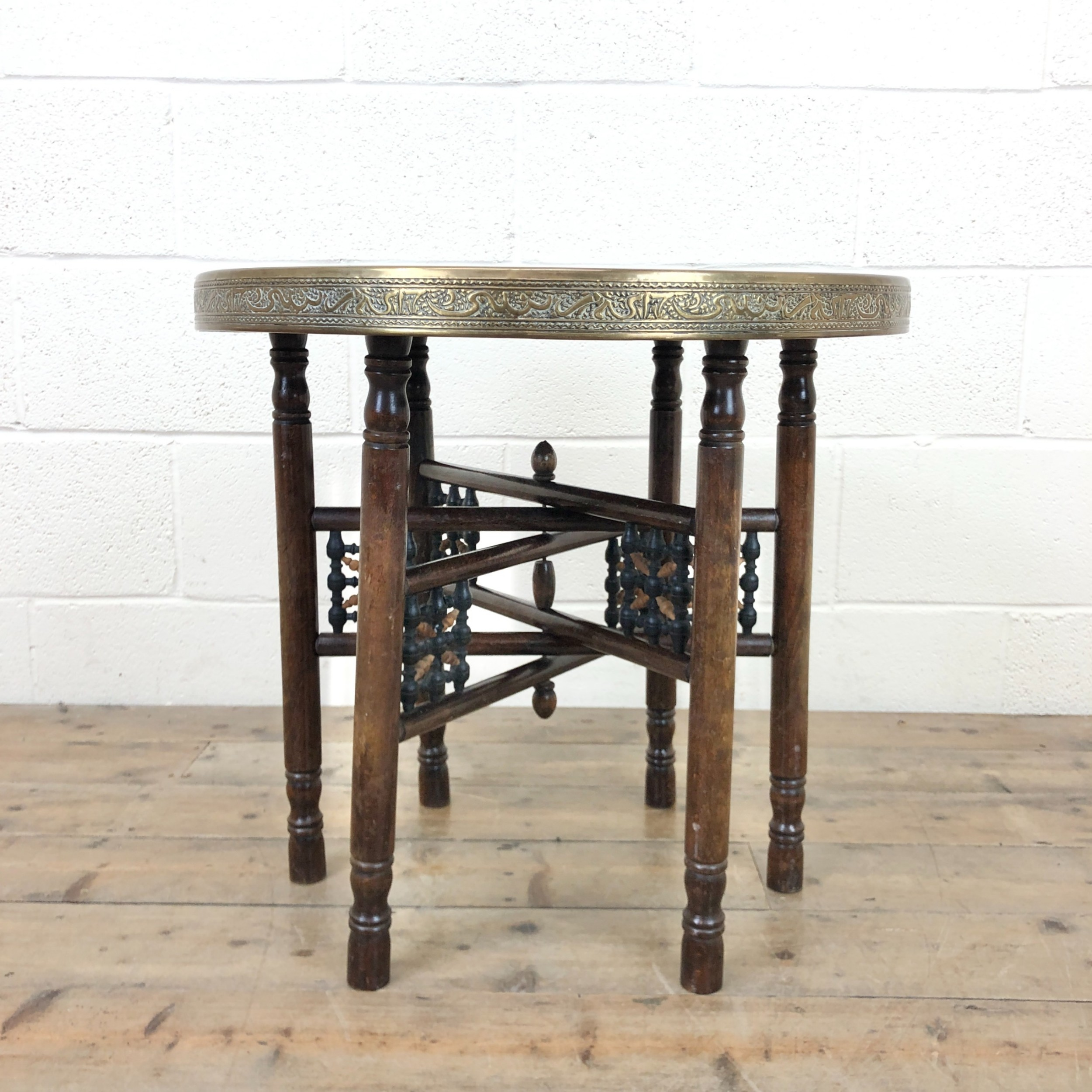 middle eastern brass tray top folding table