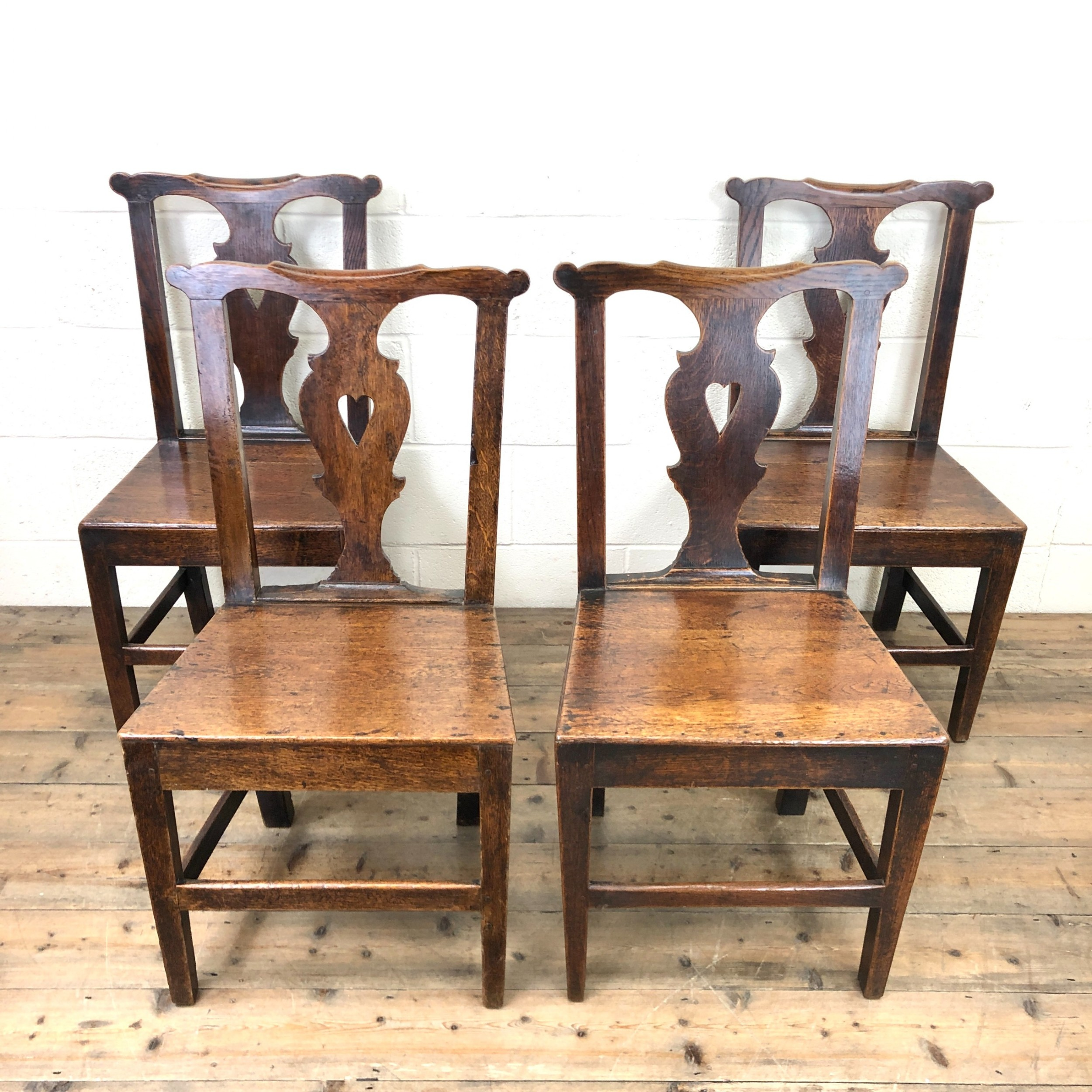 set of four 19th century oak dining chairs
