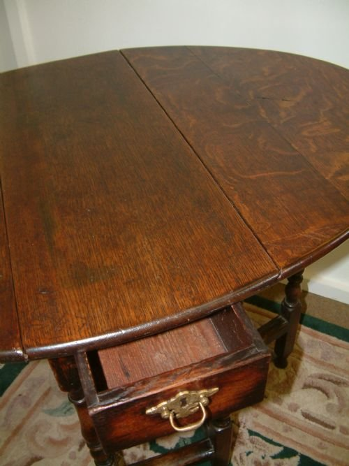 small oak country gateleg table - photo angle #2