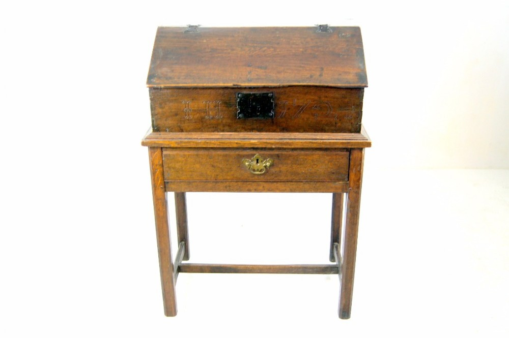 early 18th century oak bible box on stand