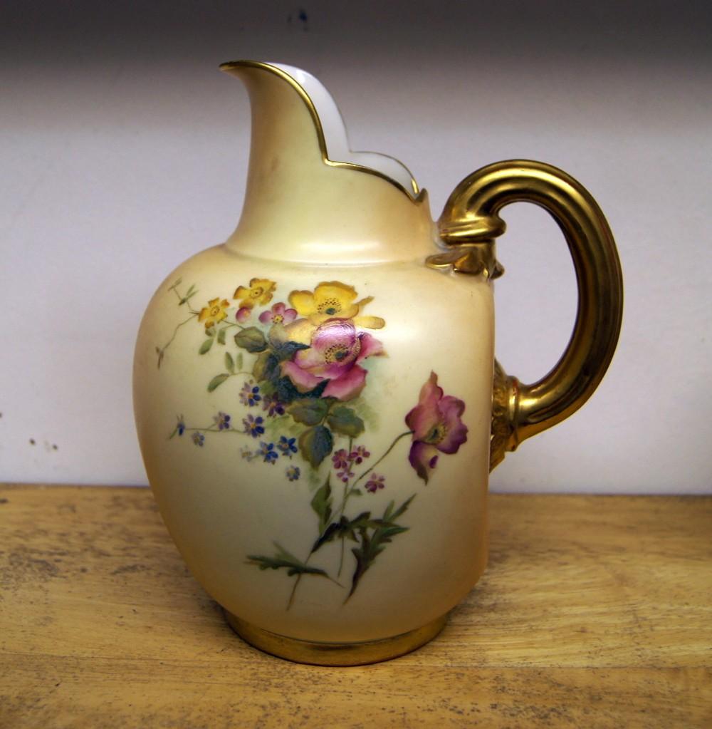 a good royal worcester flat back blush ivory jug
