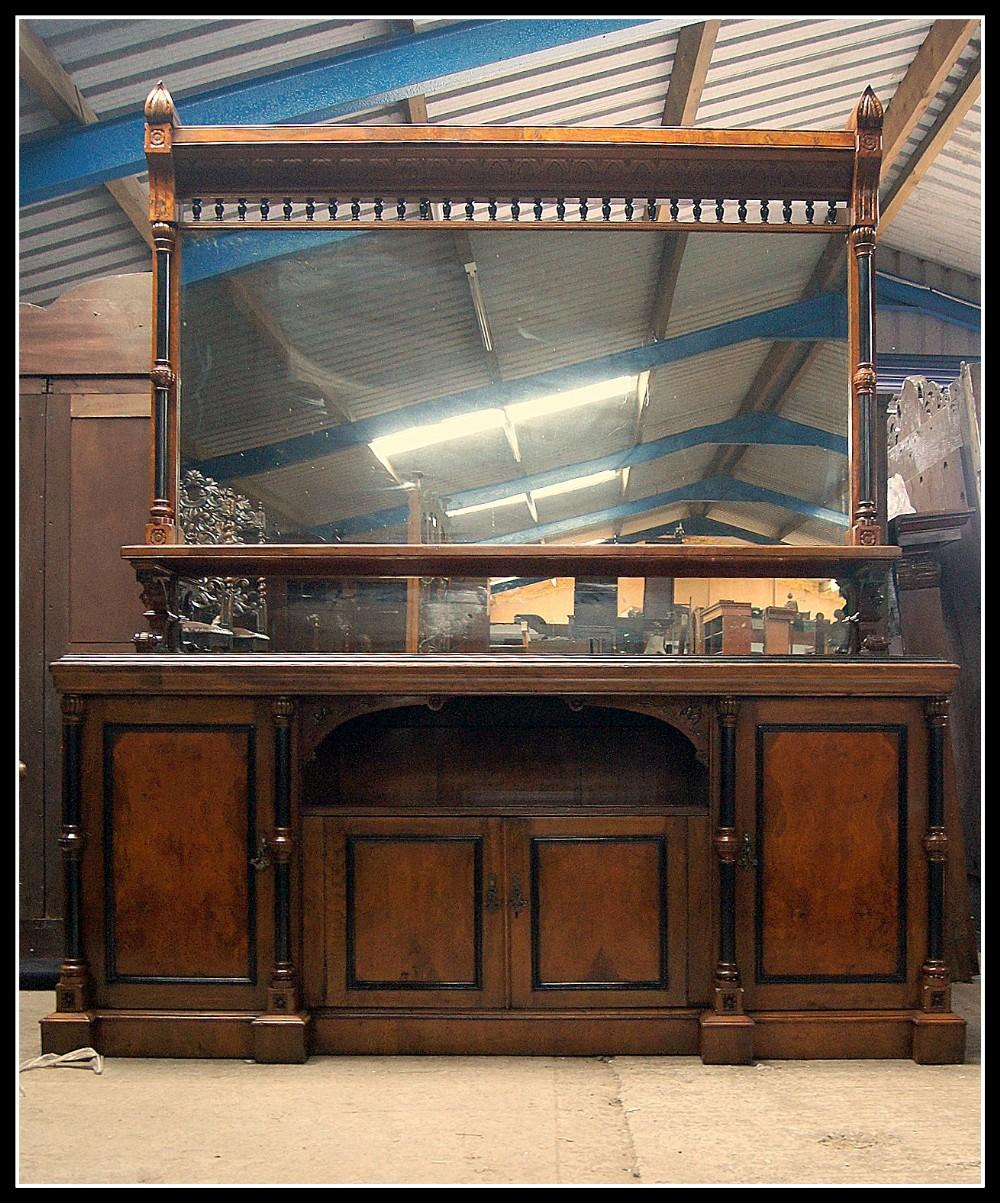 an imposing impressive large pollard oak aesthetic movement mirror back sideboard